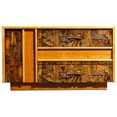 Restored Brutalist Sideboard Credenza Cabinet by Lane Altavista, 1960s, Signed