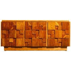 Restored Brutalist Six-Drawer Dresser Cabinet by Lane Altavista, 1960s, Signed