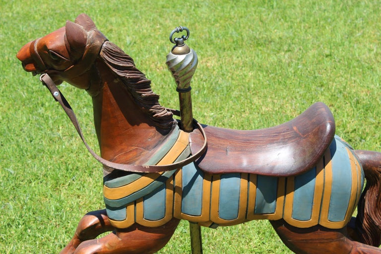 Restored Carousel Mini Horse on Brass Pole For Sale 6