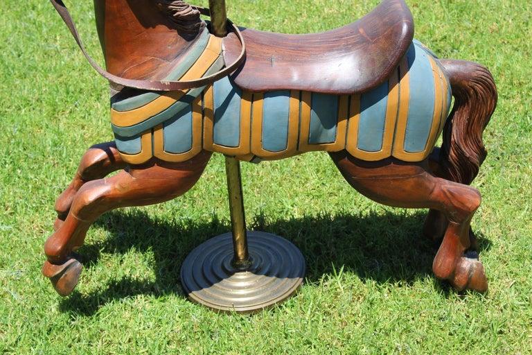 Restored Carousel Mini Horse on Brass Pole For Sale 7