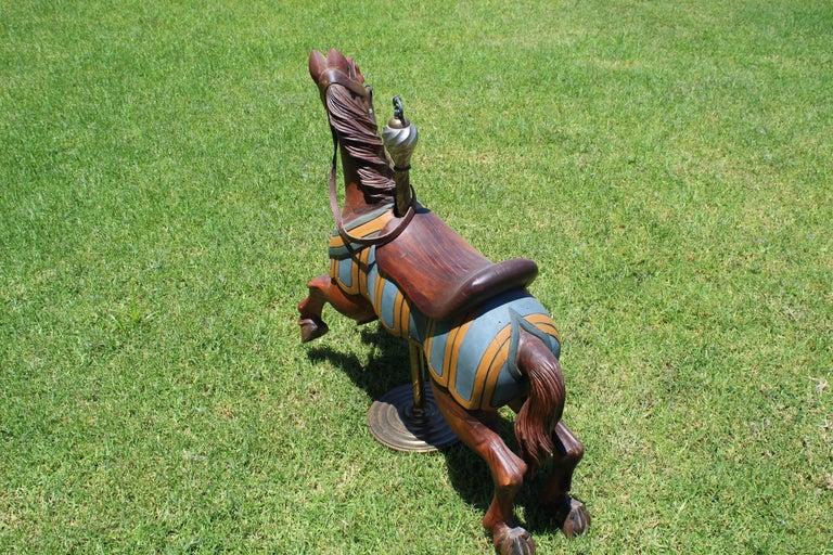 Restored Carousel Mini Horse on Brass Pole For Sale 8