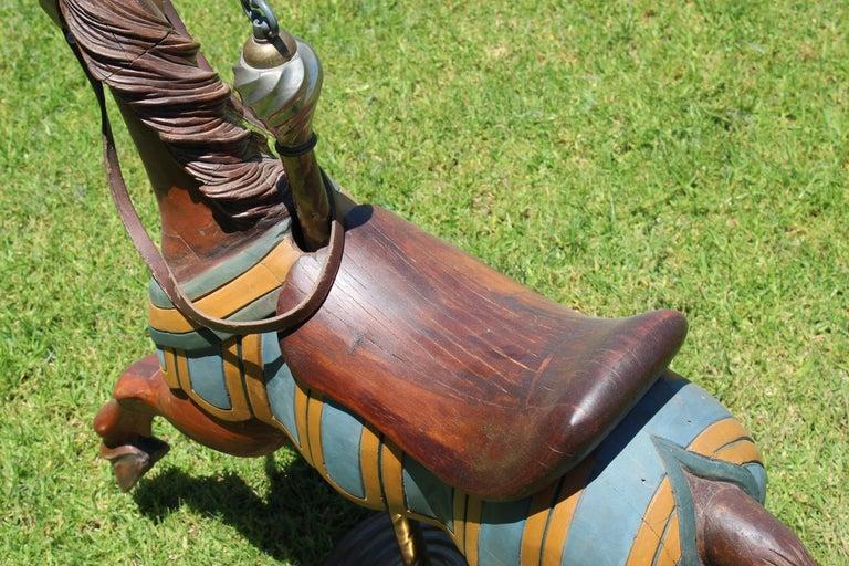 Restored Carousel Mini Horse on Brass Pole For Sale 10