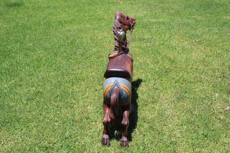 Restored Carousel Mini Horse on Brass Pole For Sale 12
