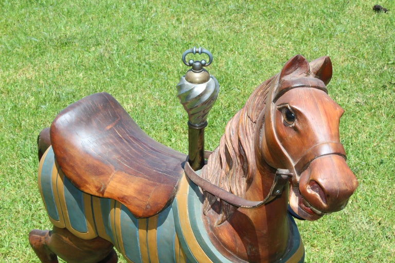North American Restored Carousel Mini Horse on Brass Pole For Sale