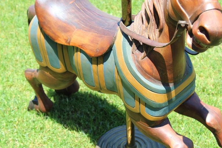 Restored Carousel Mini Horse on Brass Pole In Good Condition For Sale In Orange, CA