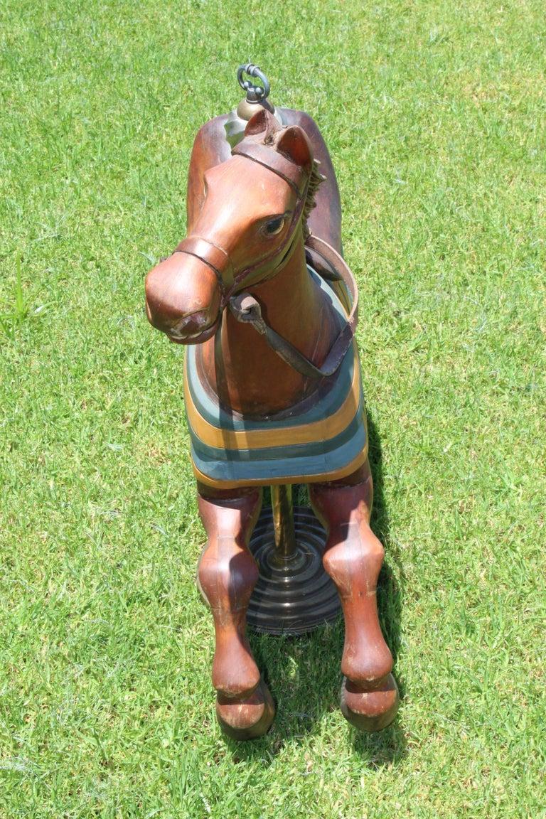 Restored Carousel Mini Horse on Brass Pole For Sale 1