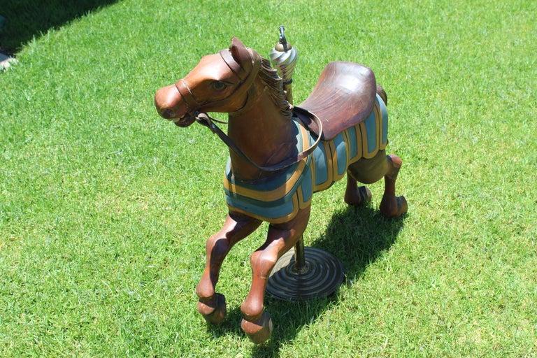 Restored Carousel Mini Horse on Brass Pole For Sale 2
