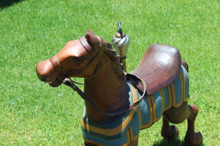 Restored Carousel Mini Horse on Brass Pole For Sale 3