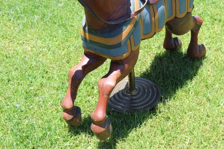 Restored Carousel Mini Horse on Brass Pole For Sale 4