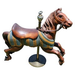 Restored Carousel Mini Horse on Brass Pole