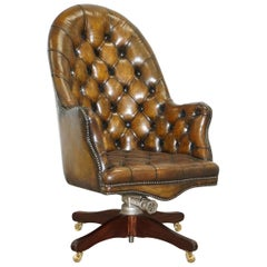 Restored Chesterfield Cigar Brown Leather Captains Armchair Hillcrest circa 1900