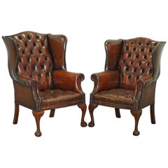 Restored Chesterfield His & Hers Claw & Ball Wing Brown Leather Armchairs Pair 2