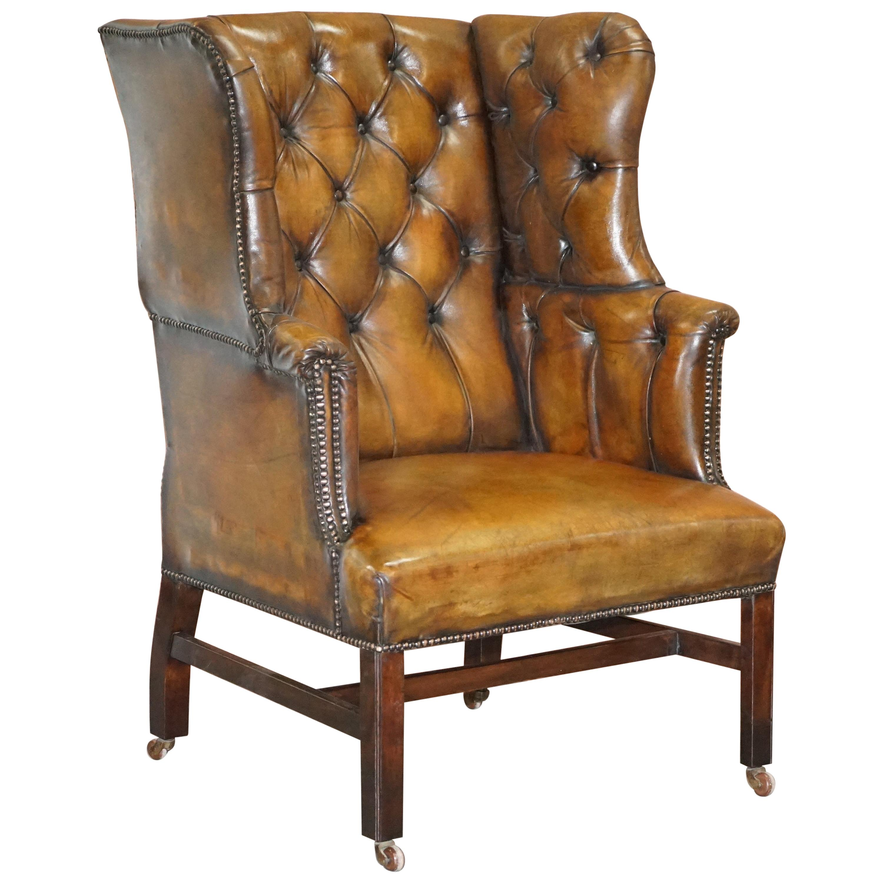 Restored Cigar Brown Leather Victorian Chesterfield Porters Wingback Armchair