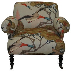 Restored circa 1810 Regency Bluster Arm Armchair Mulberry Flying Duck Fabric