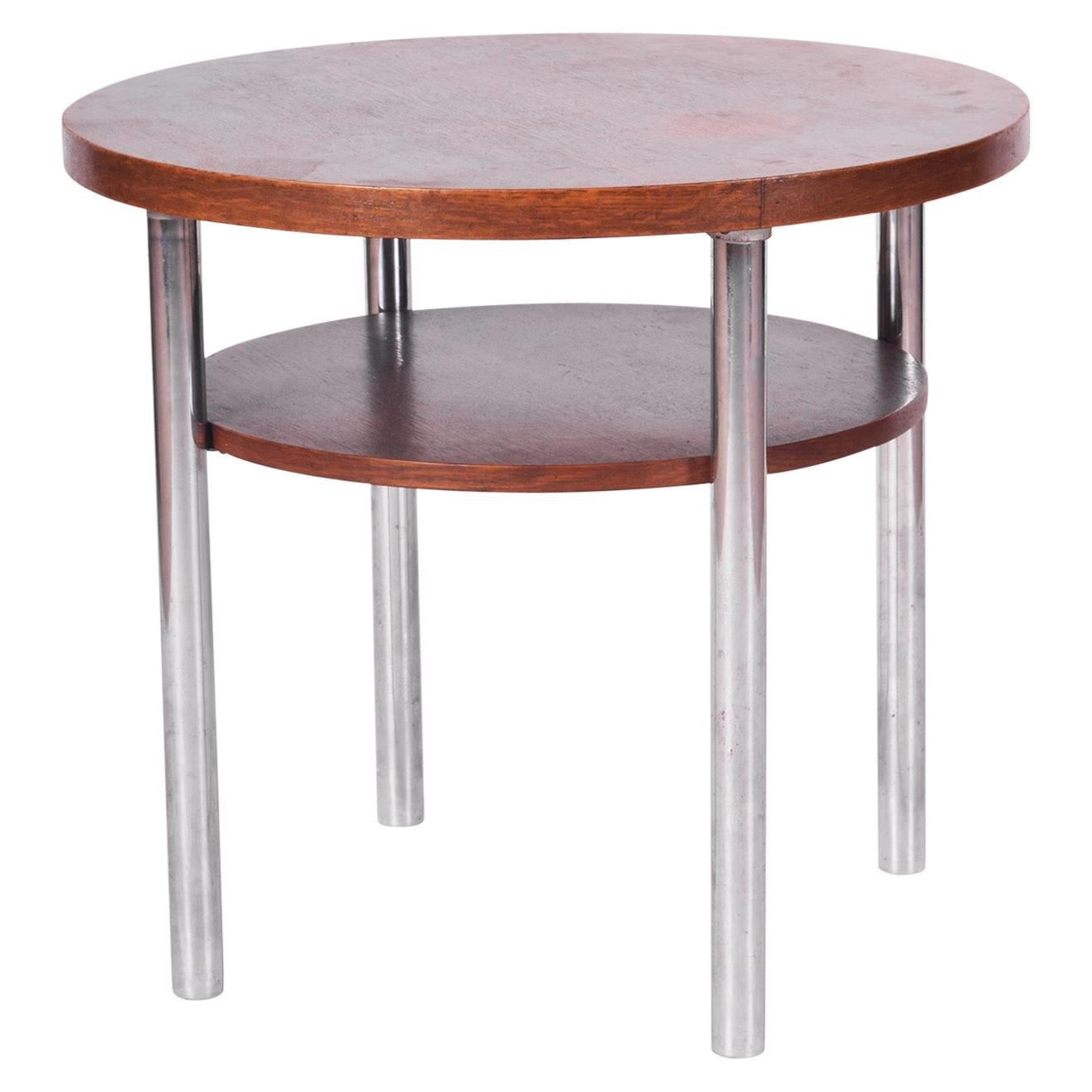 Restored Czech Round Oak Bauhaus Table by Mücke & Melder, Chrome, 1930s