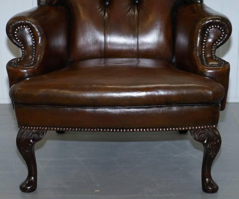 Restored Deep Brown Leather Chesterfield Suite Pair of Wingback Armchairs & Sofa For Sale 3
