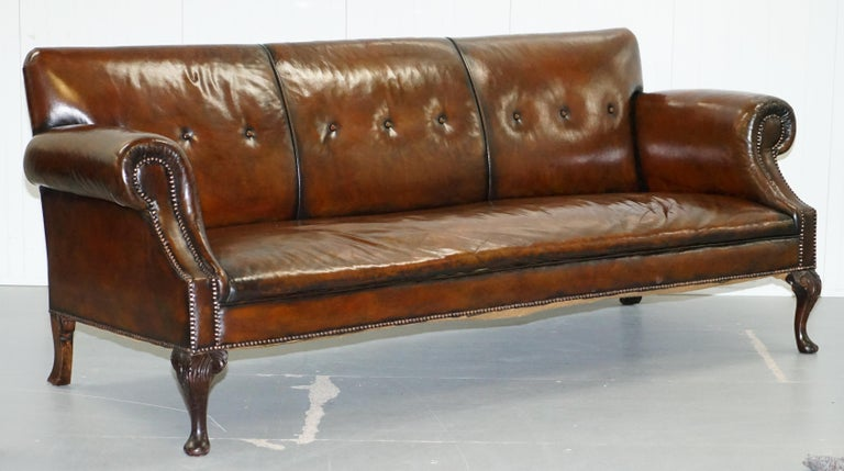 Restored Deep Brown Leather Chesterfield Suite Pair of Wingback Armchairs & Sofa For Sale 4