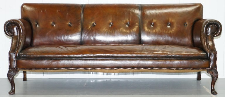 Restored Deep Brown Leather Chesterfield Suite Pair of Wingback Armchairs & Sofa For Sale 5