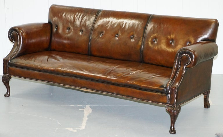 Restored Deep Brown Leather Chesterfield Suite Pair of Wingback Armchairs & Sofa For Sale 6