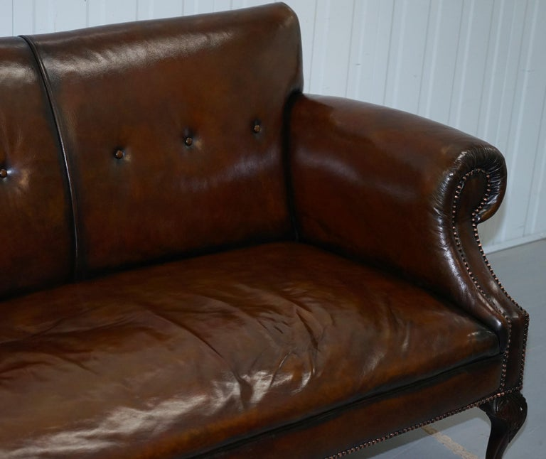 Restored Deep Brown Leather Chesterfield Suite Pair of Wingback Armchairs & Sofa For Sale 7