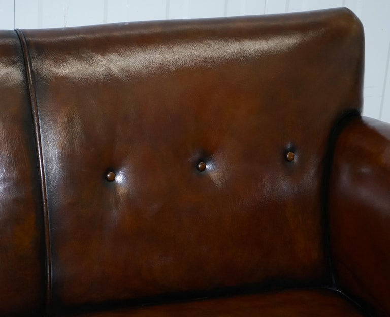 Restored Deep Brown Leather Chesterfield Suite Pair of Wingback Armchairs & Sofa For Sale 8