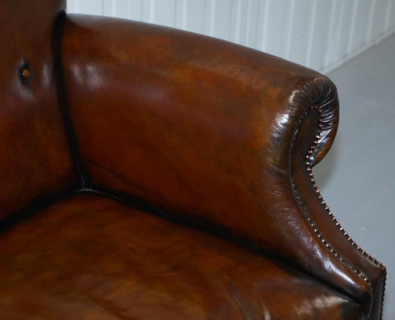 Restored Deep Brown Leather Chesterfield Suite Pair of Wingback Armchairs & Sofa For Sale 9