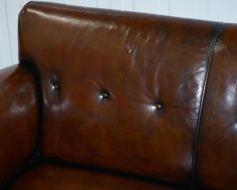 Restored Deep Brown Leather Chesterfield Suite Pair of Wingback Armchairs & Sofa For Sale 10