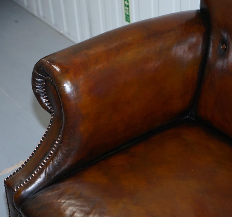 Restored Deep Brown Leather Chesterfield Suite Pair of Wingback Armchairs & Sofa For Sale 11