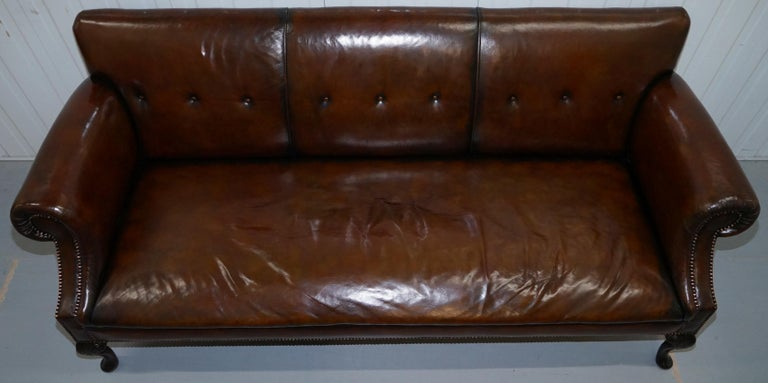 Restored Deep Brown Leather Chesterfield Suite Pair of Wingback Armchairs & Sofa For Sale 12
