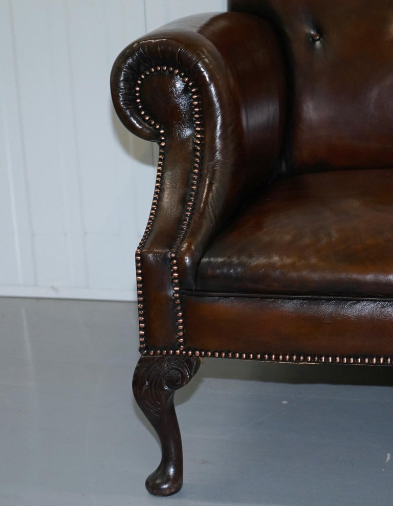 Restored Deep Brown Leather Chesterfield Suite Pair of Wingback Armchairs & Sofa For Sale 13