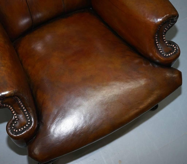 British Restored Deep Brown Leather Chesterfield Suite Pair of Wingback Armchairs & Sofa For Sale