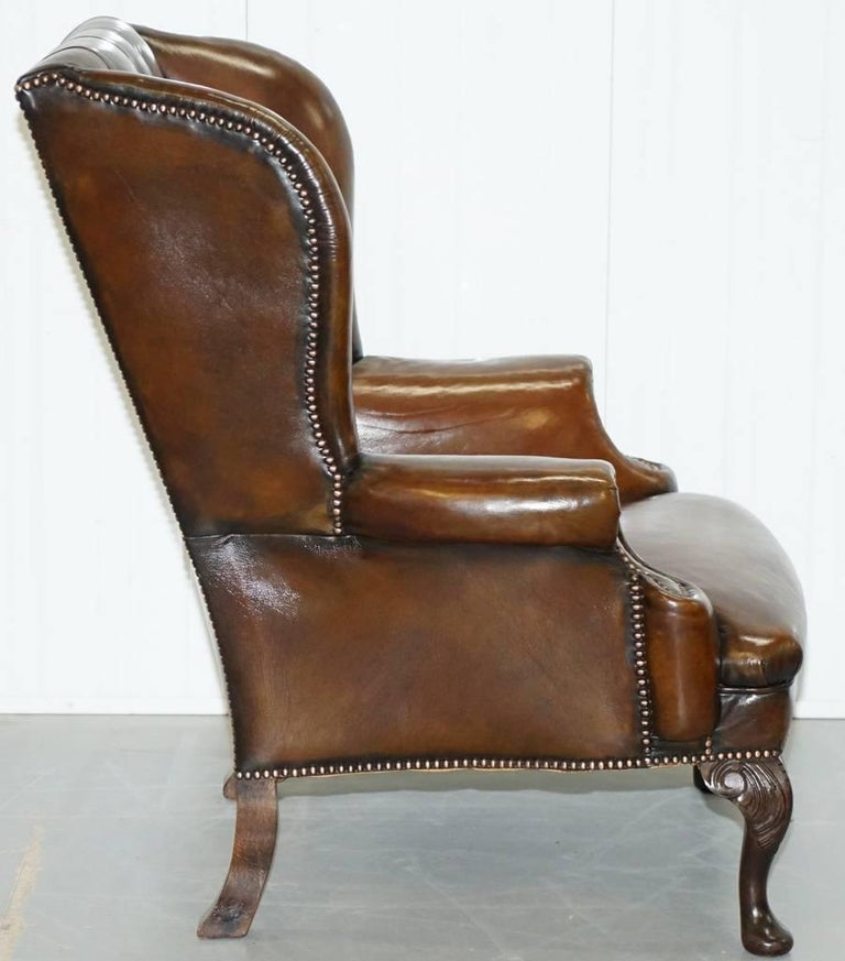 Hand-Carved Restored Deep Brown Leather Chesterfield Suite Pair of Wingback Armchairs & Sofa For Sale