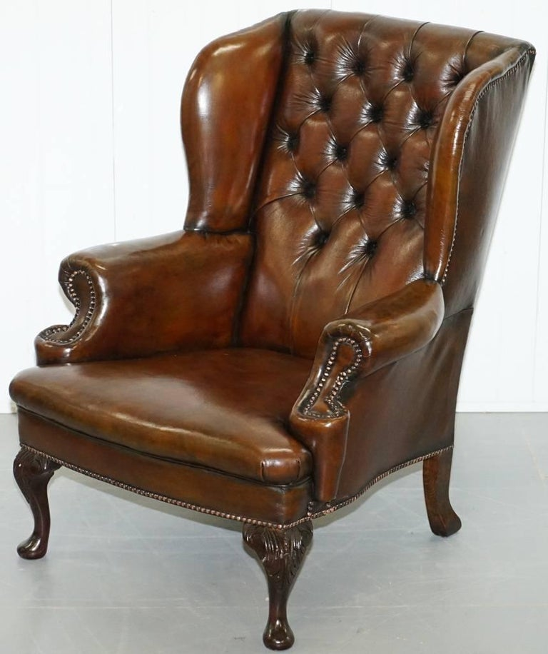 Restored Deep Brown Leather Chesterfield Suite Pair of Wingback Armchairs & Sofa For Sale 2