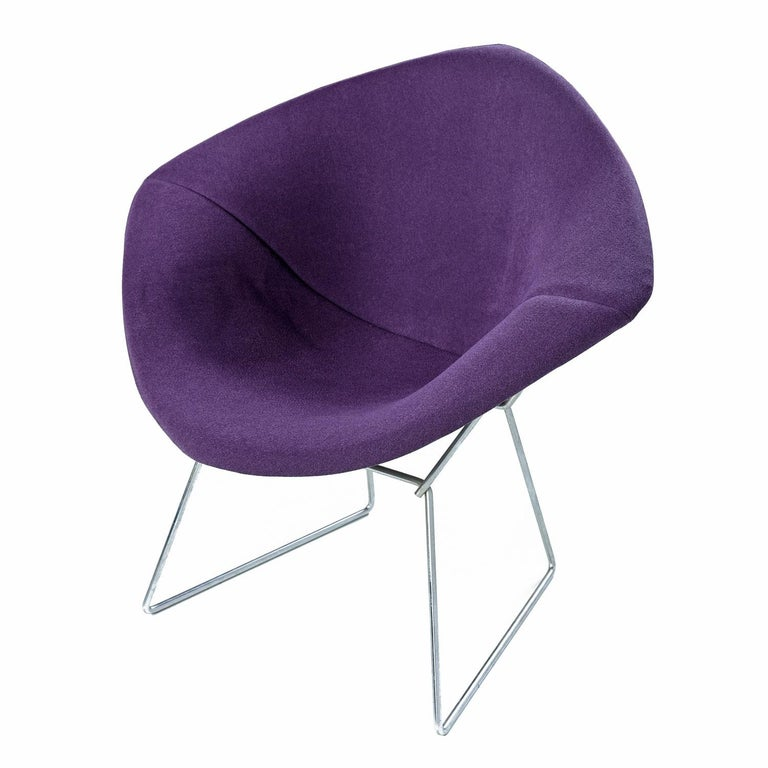 Fully restored vintage Bertoia Diamond Chair by Knoll.  (2) Available.  Our team used the original pattern to recreate a new cover in beautiful plum colored Knoll tweed fabric. Original tag has been sewn into the new cover.    A fully upholstered
