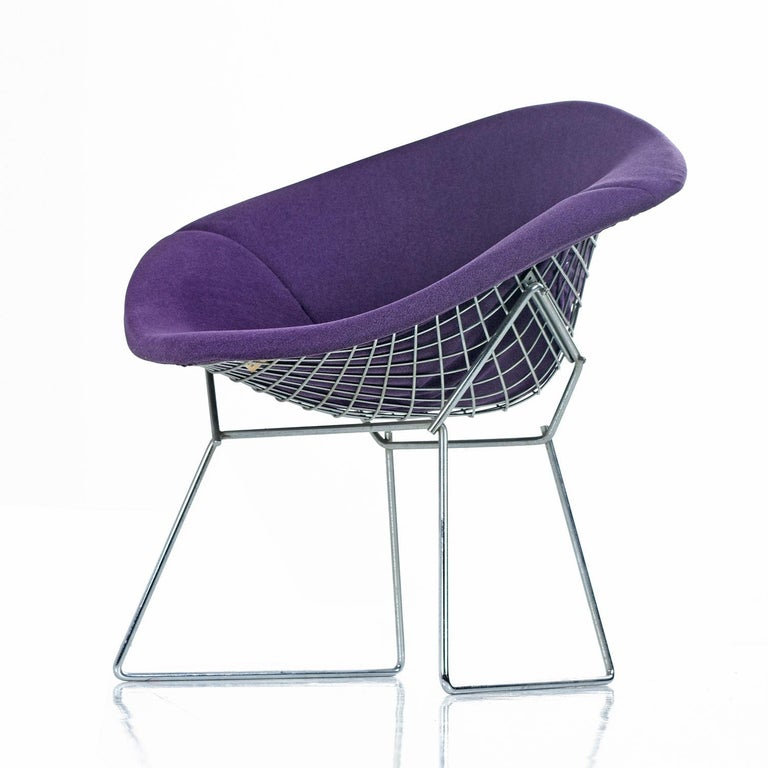 Mid-Century Modern Restored Diamond Chair by Harry Bertoia for Knoll - Full Cover Plum Knoll Tweed For Sale