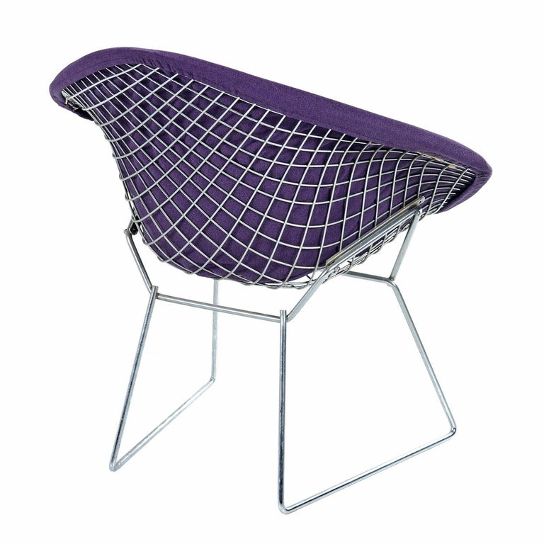 American Restored Diamond Chair by Harry Bertoia for Knoll - Full Cover Plum Knoll Tweed For Sale