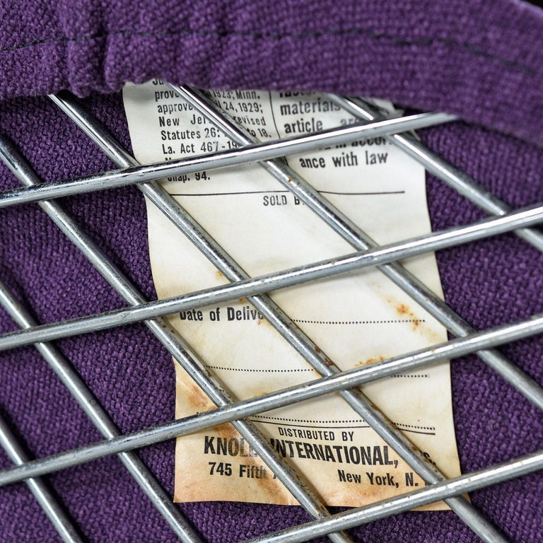 Stainless Steel Restored Diamond Chair by Harry Bertoia for Knoll - Full Cover Plum Knoll Tweed For Sale