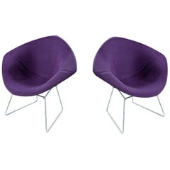 Restored Diamond Chair by Harry Bertoia for Knoll, Full Cover Plum Knoll Tweed