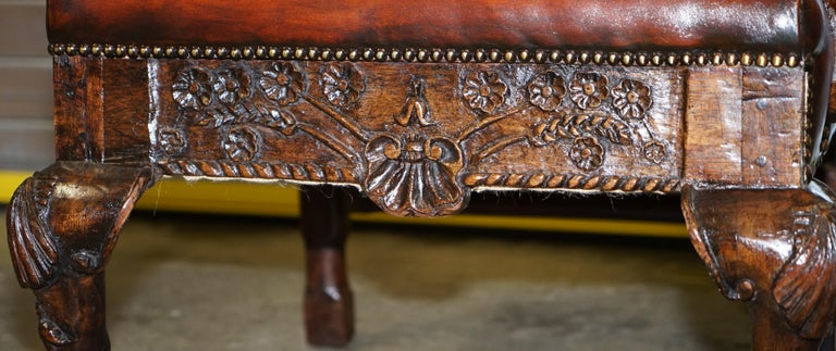 Restored Early 18th Century circa 1720 Wingback Armchair Cigar Brown Leather For Sale 6