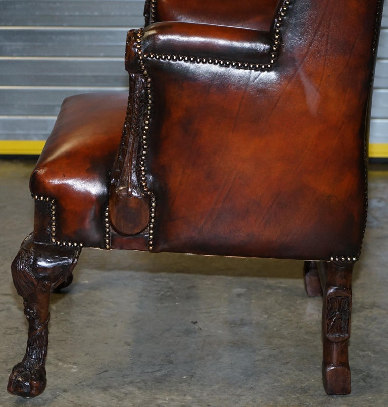 Restored Early 18th Century circa 1720 Wingback Armchair Cigar Brown Leather For Sale 12