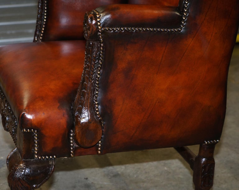 Restored Early 18th Century circa 1720 Wingback Armchair Cigar Brown Leather For Sale 13