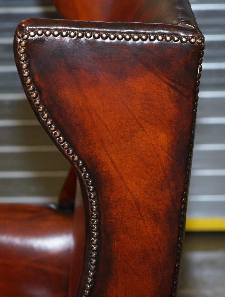 Restored Early 18th Century circa 1720 Wingback Armchair Cigar Brown Leather For Sale 14
