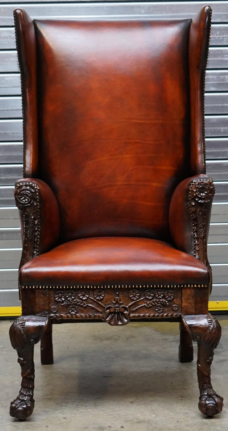 George I Restored Early 18th Century circa 1720 Wingback Armchair Cigar Brown Leather For Sale