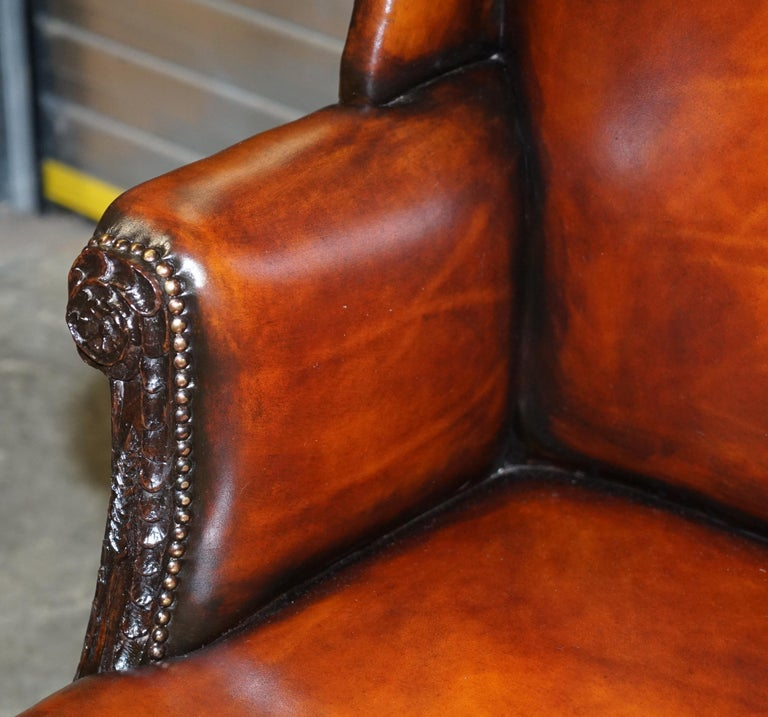 Restored Early 18th Century circa 1720 Wingback Armchair Cigar Brown Leather In Excellent Condition For Sale In London, GB