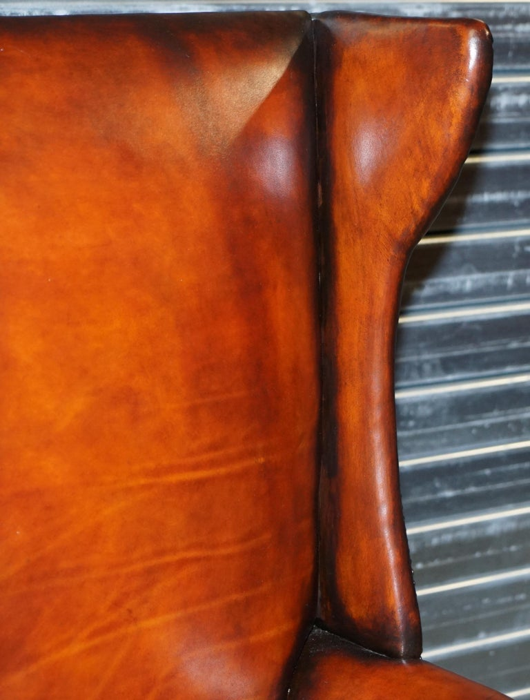 Restored Early 18th Century circa 1720 Wingback Armchair Cigar Brown Leather For Sale 1