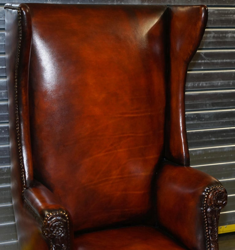 Restored Early 18th Century circa 1720 Wingback Armchair Cigar Brown Leather For Sale 2