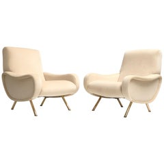 Restored Early Production Wood Frame Zanuso 'Lady' Chairs, 1951, Mohair Fabric