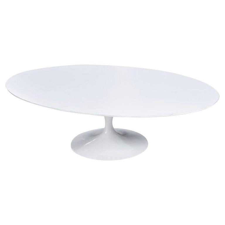 Restored Early Weighted Insert Base Knoll Saarinen Tulip Oval Coffee Table For Sale