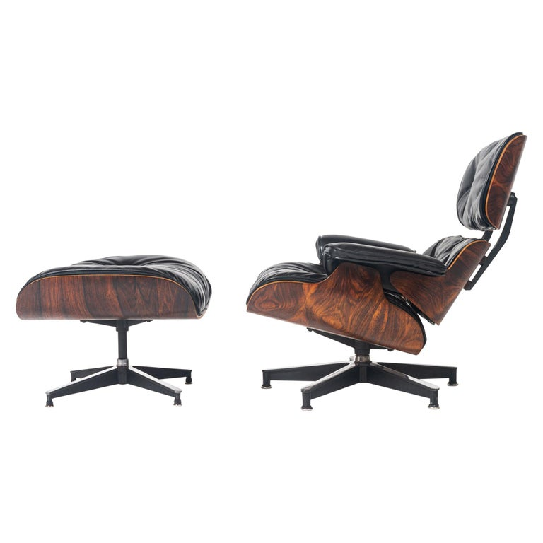 Restored First Gen 1956 Eames Lounge Chair & Ottoman For Sale