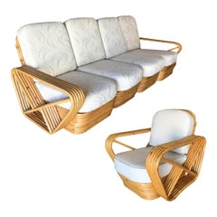 Restored Five-Strand Square Pretzel Five-Seat Sectional Sofa and Lounge Chair Se